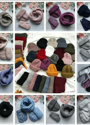 Червоний комплект шапка снуд і рукавички. теплий та стильний!