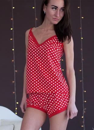 Женская пижама майка и шорты софт принт красный в горох