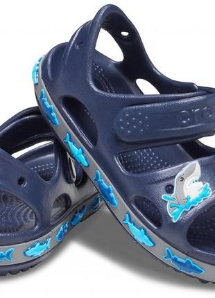 Сандалии, босоножки крокс crocs fun lab shark, j1, j2, j3