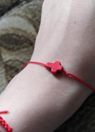 Красная нить, с кремтиком, браслет желаний, веровочка красная с кулоном