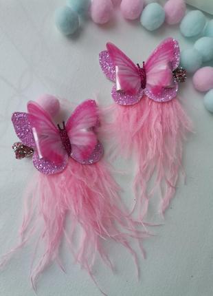 Нежные розовые шифоновые бабочки с перьями
