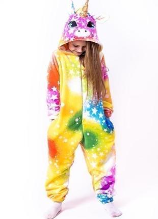 Кігурумі єдиноріг, колір веселки з зірками, кигуруми, піжама