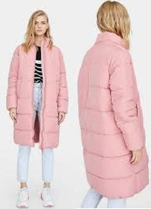 Фирменное утеплённое пальто удлиненная куртка еврозима stradivarius
