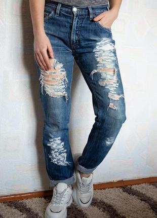 Рваные зауженные джинсы с высокой посадкой с подворотами  rifle