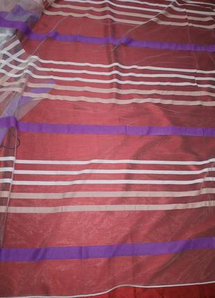 Тюль с разноцветными полосами горизонтальными. 4 м