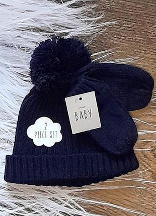 Набор, шапка, варежки, шапка на детей 9-12-18мес, george