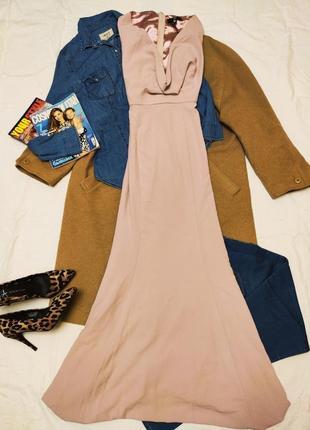 Missguided длинное розовое пудровое платье макси в пол вечернее с вырезом