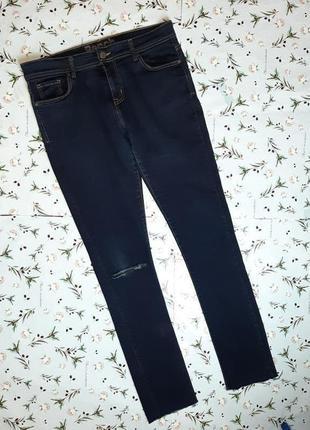 🎁1+1=3 темно-синие узкие зауженные плотные джинсы с рваным коленом bench, размер 46 - 48