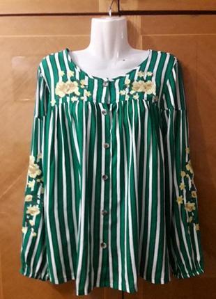 Papaya р.12 нарядная  вискозная блуза в полоску с вышивкой