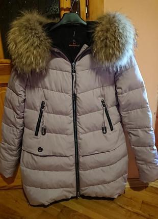 Зимова куртка з песцевим хутром. зимняя куртка .