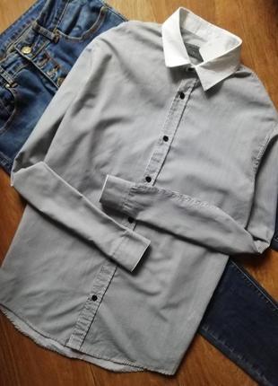 Рубашка оверсайз в черную полоску, сорочка бойфренд, свободного кроя