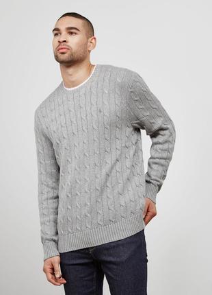 Оригинальный свитер polo ralph lauren cable knitted sweater gray
