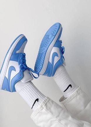 Кроссовки nike air jordan 1 low blue женские