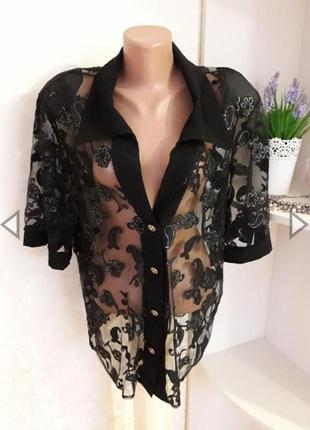 Распродажа! 🎁 нарядная черная блуза, сеточка, большой размер