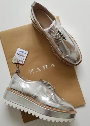 Серебряные туфли на платформе zara