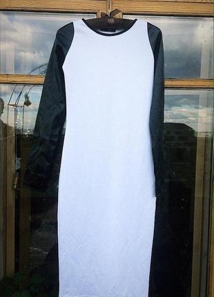 Платье с рукавами из экокожи 🤍🖤