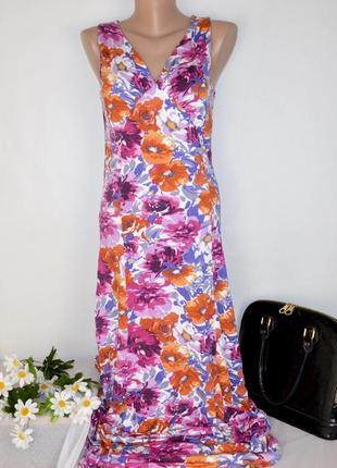 Брендовое яркое нарядное макси платье artigiano италия вискоза принт цветы этикетка