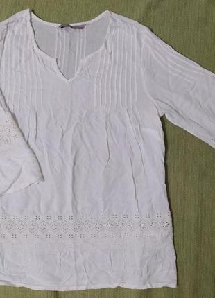 Блузка сорочка с вышивкой белая молочная
