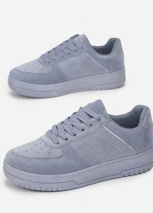 Стильные кеды замшевые кроссовки толстая подошва на шнурках трендовые