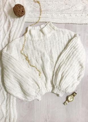 Светр/рукава фанаріки/волани/ в'язаний светр/светр з горловиною/айворі/молочного кольору.