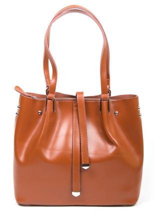 Сумка кожаная женская стильная коричневая рыжая вместительная мешок красивая качественная