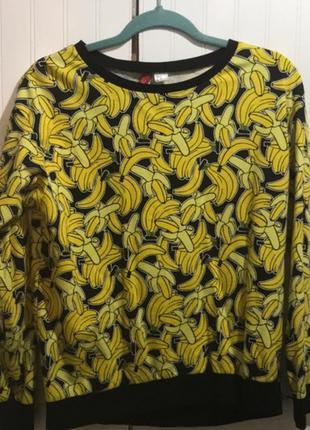 Свитшот толстовка джемпер худи с принтом бананами бананом h&m
