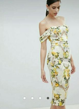 Шикарное платье с открытыми плечами под винтаж asos