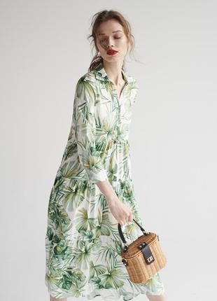 Потрясающе красивое макси платье в тропический принт