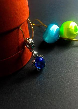 Шарм подвеска синяя черепашка черепаха на браслет пандора серебро проба 925