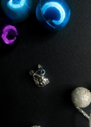 Шарм лиса с синими глазами лисичка на браслет пандора серебро проба 925