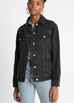 Джинсовая куртка оверсайз пиджак бойфренд винтаж графит