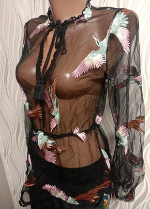 Крутая блуза сетка в объемную вышивку