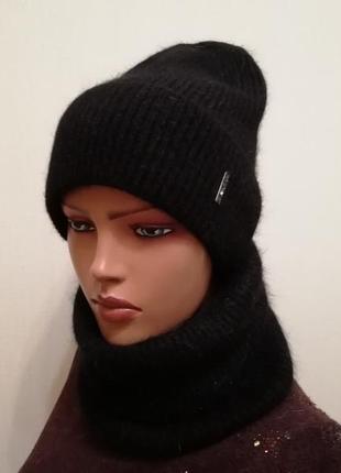 Стильный комплект шапка и бафф ангора 56-58
