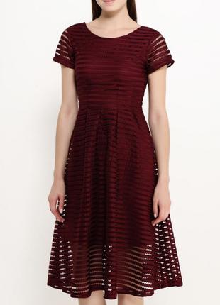 Сетчатое модное вишнёвое платье lost ink