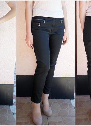 Черные обтягивающие джинсы скинни с напылением и декоративными молниями l/xl