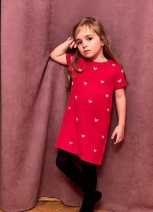 Плаття платье с аппликацией нарядное красный/сердечки h&m 4-6р{110/116}