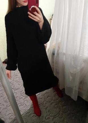 Шикарное объёмное вязаное шерстяное платье свободного кроя
