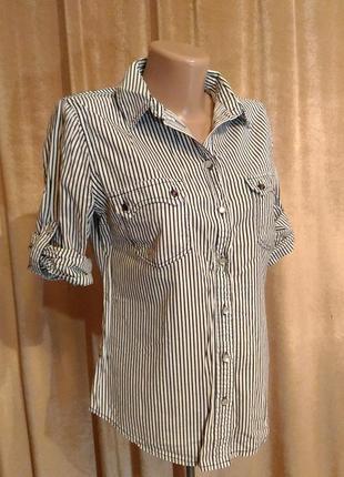 Рубашка женская белая в тонкую чёрную полоску стрейч  турция размер s, m, l