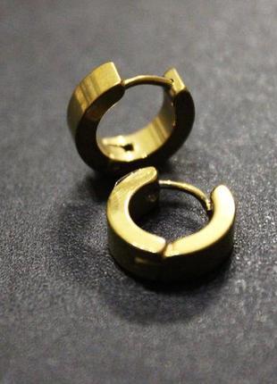 2шт крутые серьги унисекс сережки золотистый кольцо рок