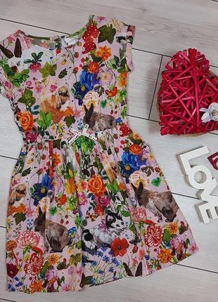 Легкое вискозное платье h&m с интересным принтом