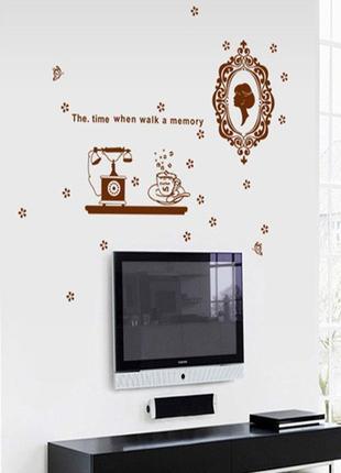 """Виниловая интерьерная наклейка на стену, обои """"винтаж"""" под фото рамочки"""
