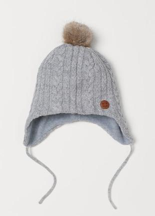 Теплая шапка на флисовой подкладке h&m 4-8(51-53cm)
