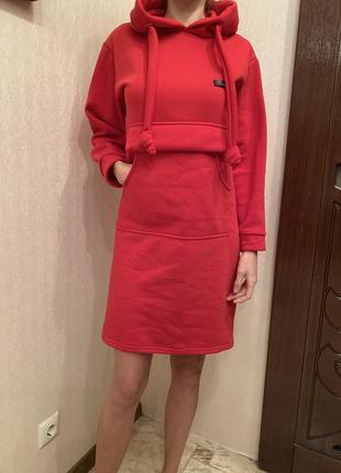 Акция🎁🎁🎁 платье-худи, тёплое спортивное платье с капюшоном