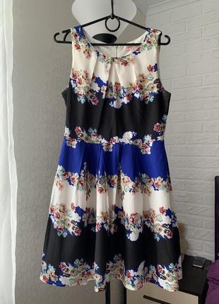 Платье красивое нежное романтичное колорблок в цветы sophia