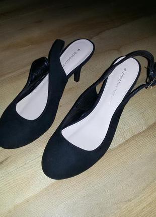 Туфли летние *балетки на каблуке