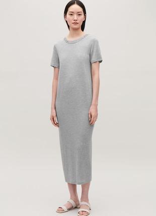 Серое длинное платье-футболка cos l-xl