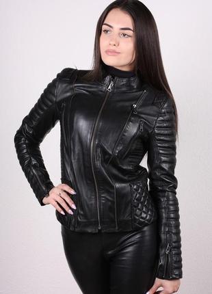 Куртка натуральная кожа женская черная короткая турция жіноча шкіряна