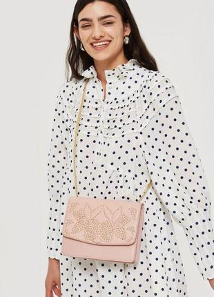 Нюдовая розовая натуральная кожа  кожаная сумка клатч с золотой цепью