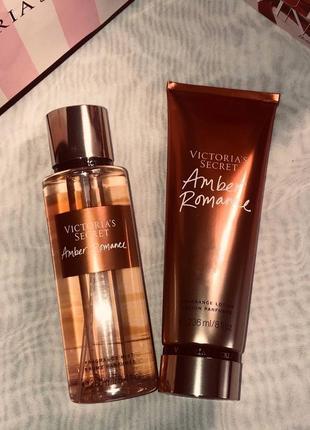 Набор парфюмированный спрей для тела amber romance victoria's secret и лосьон