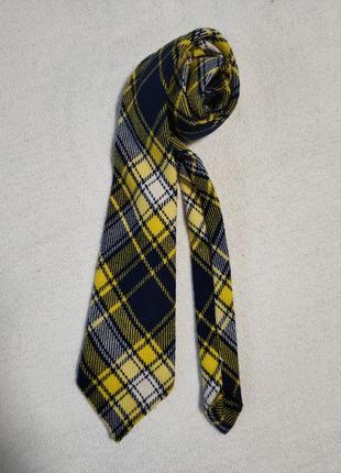 Шерстяной галстук в клетку жёлтый